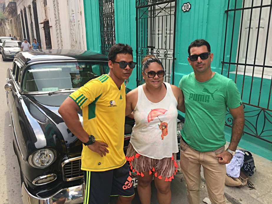 Our fabulous tour guides with Cuban Connections (Pete on the left, me and Josef) We traveled in style in a 1955 Chevrolet Bel Air