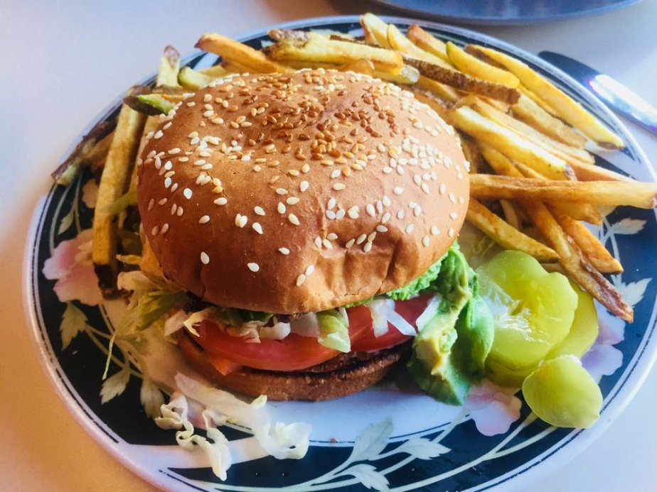 The  California  burger with crispy fresh-cut fries
