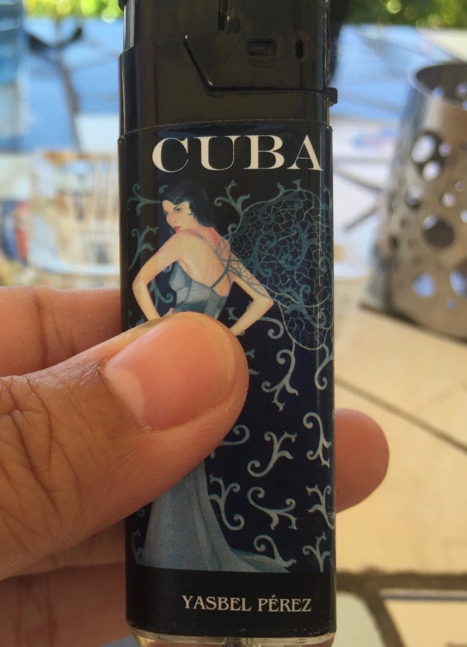 A lovely server near the Mayabeque province lended us her lighter for those strong Cuban cigarettes. It was a beautiful design!